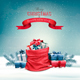 Christmas Snowy Background With A Red Sack - GraphicRiver Item for Sale