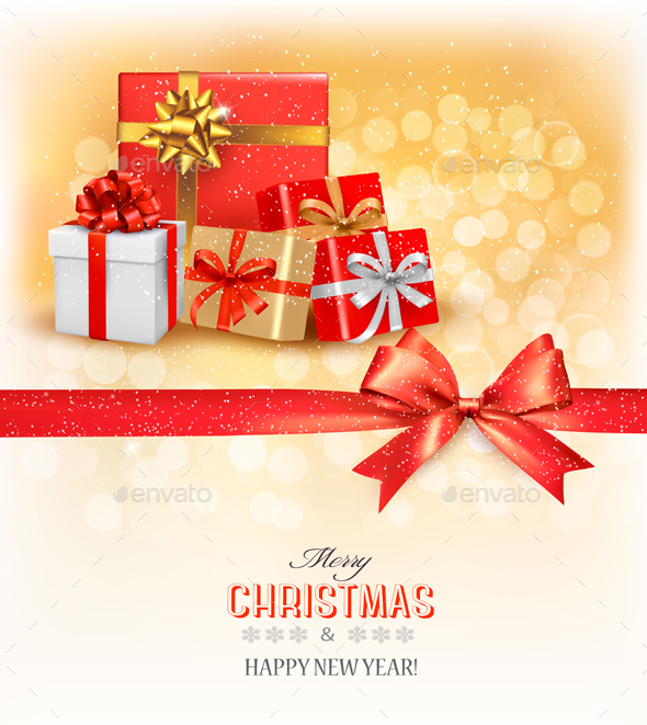 Merry Christmas Card With A Ribbon And Gift Boxes  - Christmas Seasons/Holidays