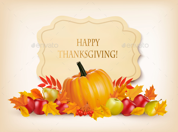 Retro Happy Thanksgiving Background Vector - Miscellaneous Seasons/Holidays