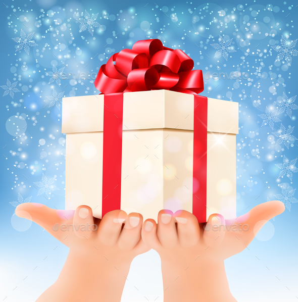 Holiday Background With Hands Holding Gift Box - Christmas Seasons/Holidays