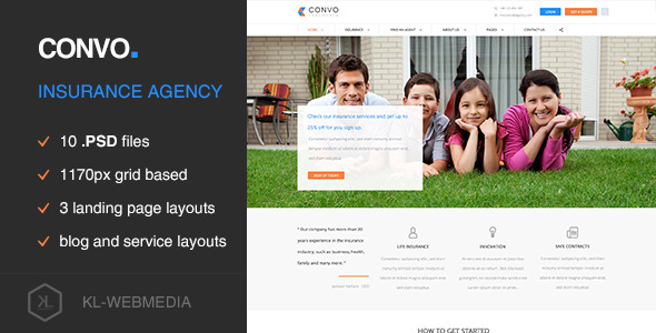 Convo - Insurance Agency PSD Template - Miscellaneous PSD Templates