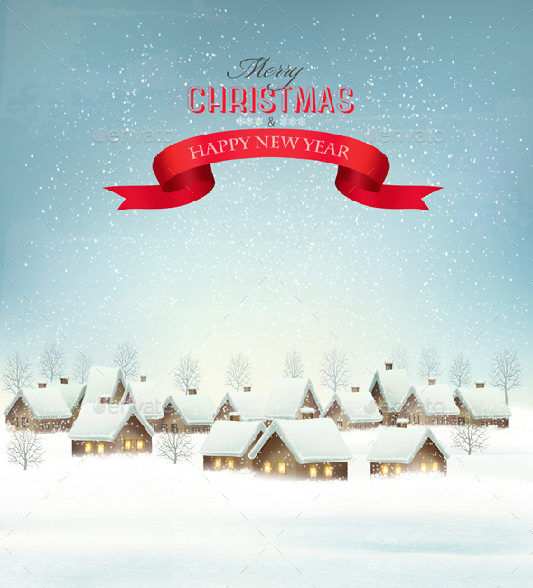 Holiday Christmas Background With A Village - Christmas Seasons/Holidays