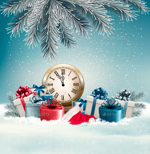Winter Background With Presents And Clock.  - Christmas Seasons/Holidays