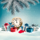 Winter Background With Presents And Clock.  - GraphicRiver Item for Sale