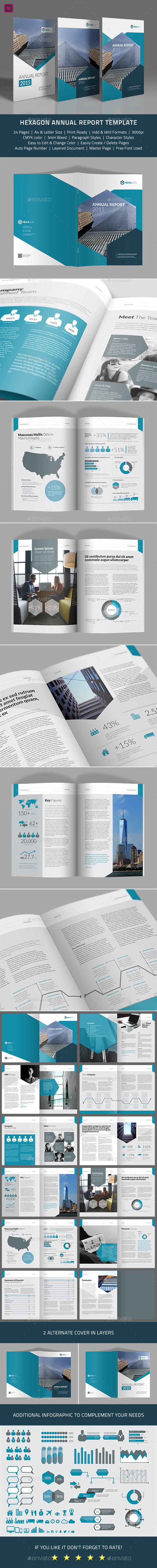 Hexagon Annual Report Template - Corporate Brochures