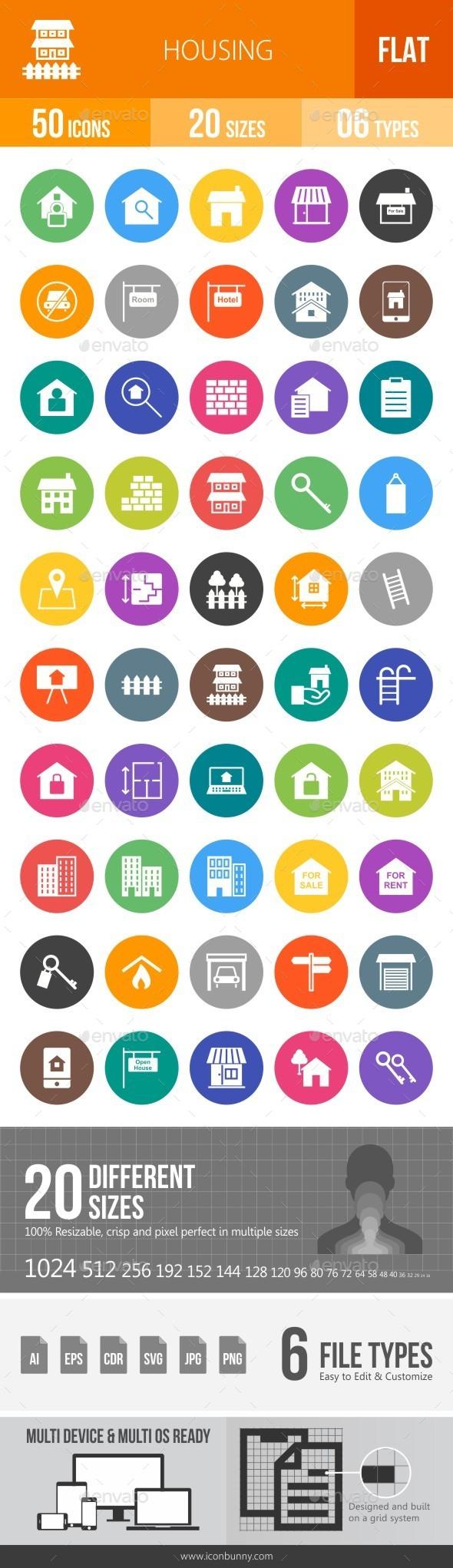 Housing Flat Round Icons - Icons