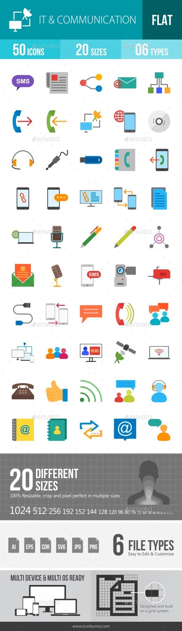 IT & Communication Flat Multicolor Icons - Icons
