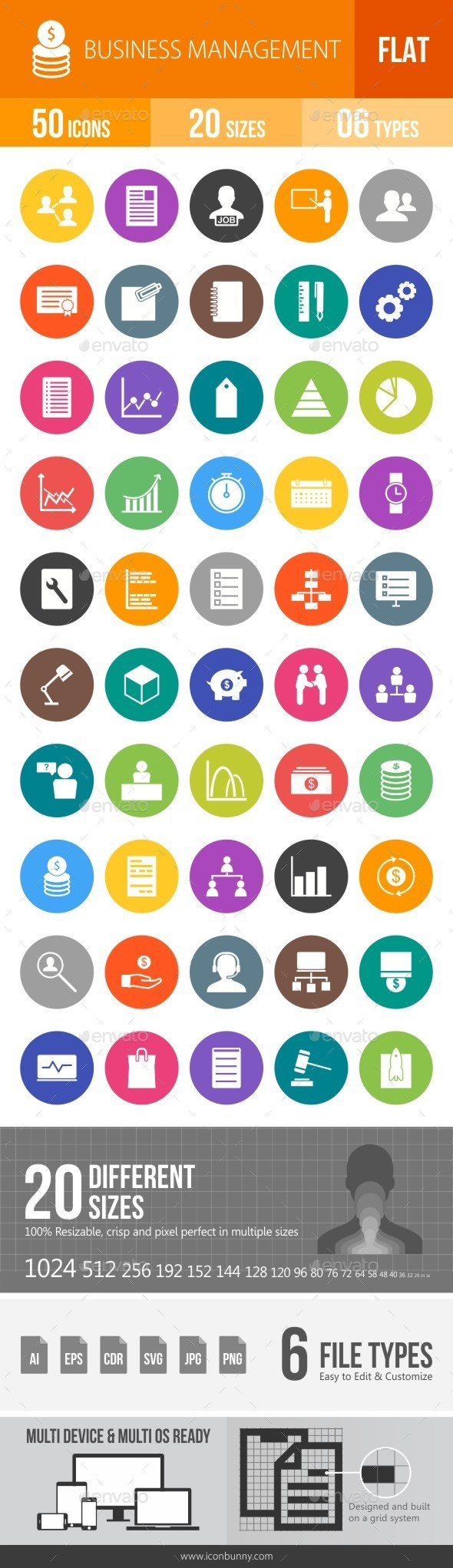 Business Management Flat Round Icons - Icons