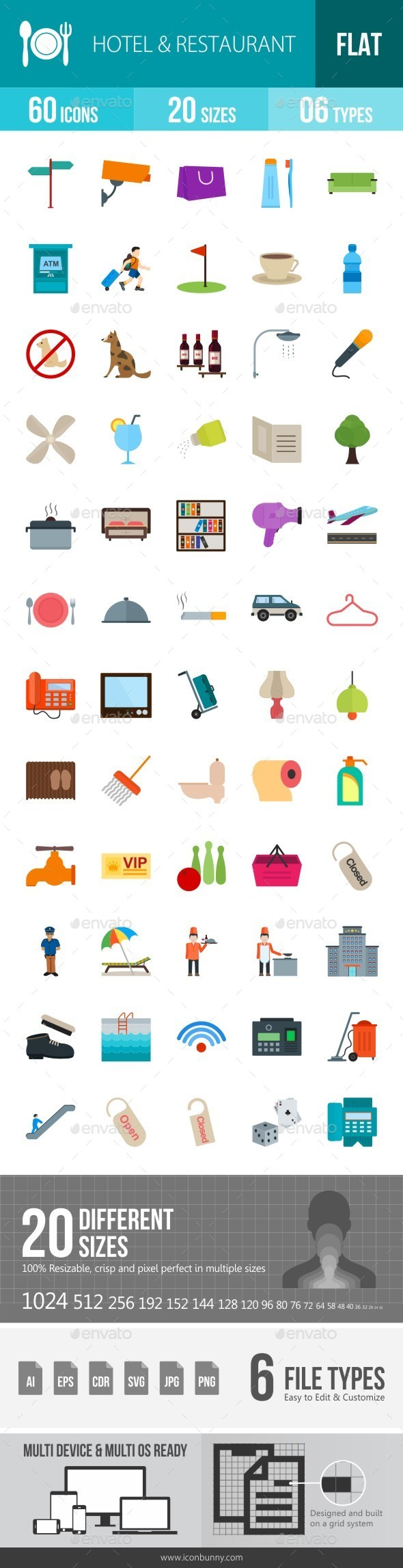Hotel & Restaurant Flat Multicolor Icons - Icons