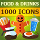 1000 Food & Drinks Flat Vector Icons Set - GraphicRiver Item for Sale