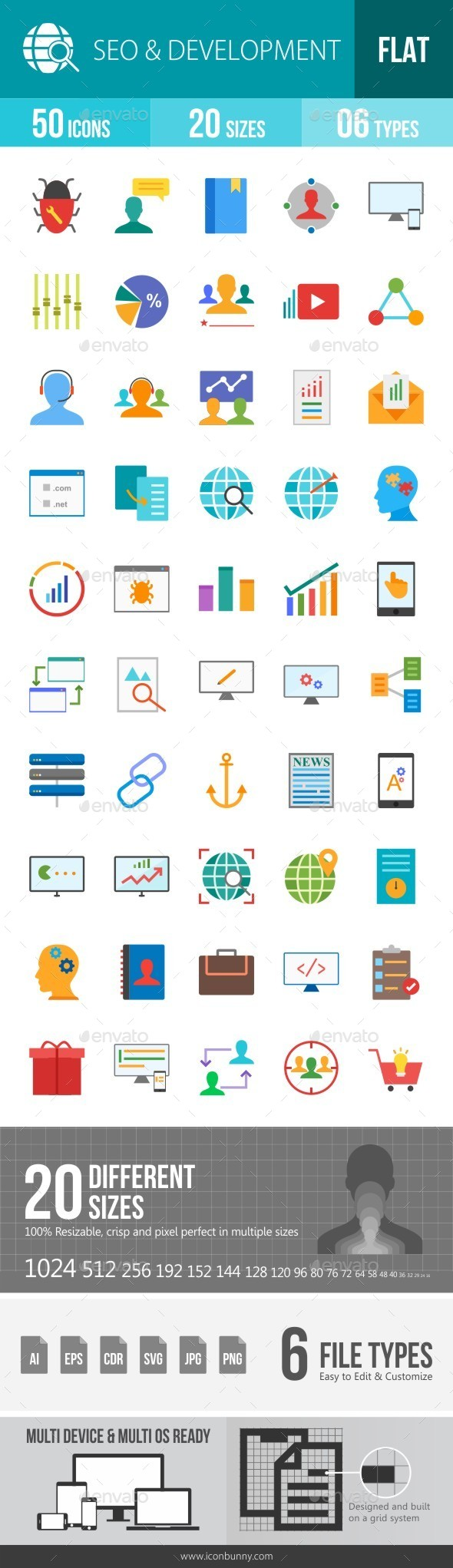SEO & Development Services Flat Multicolor Icons - Icons