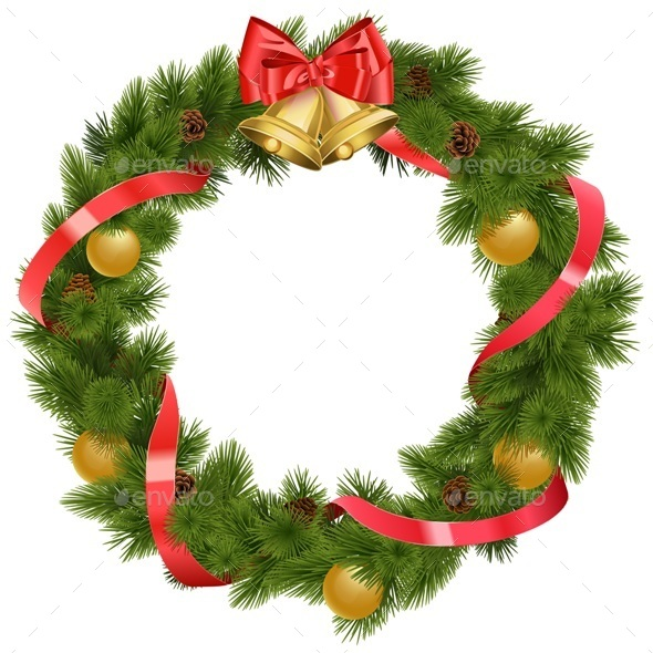 Vector Christmas Wreath with Bells - Christmas Seasons/Holidays