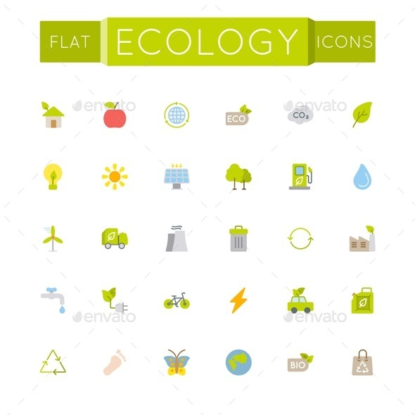 Vector Flat Ecology Icons - Industries Business
