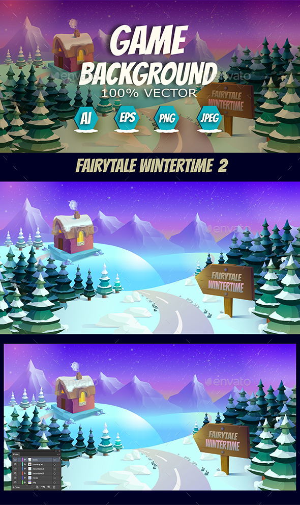 Fairytale Wintertime Snow Background               - Backgrounds Game Assets