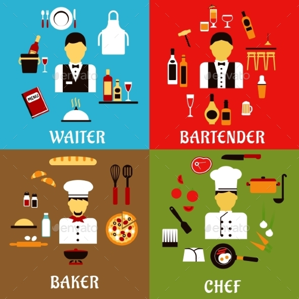 Chef, Baker, Waiter And Bartender Professions - Food Objects