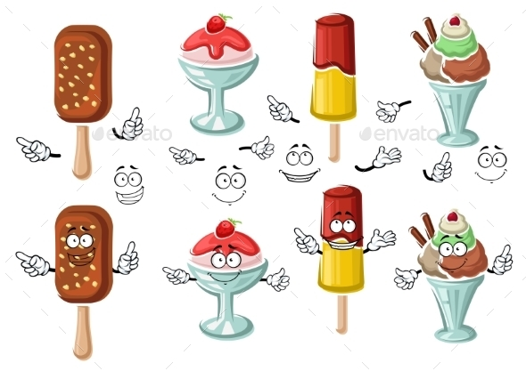 Cartoon Tasty Colorful Ice Cream Characters - Food Objects