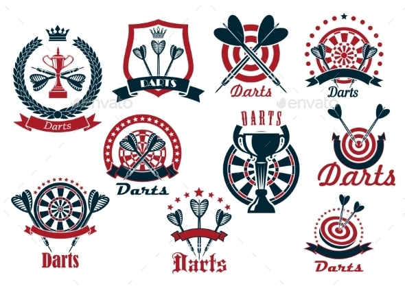 Darts Game Sporting Club Icons - Sports/Activity Conceptual