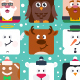 Square Flat Christmas Characters - GraphicRiver Item for Sale