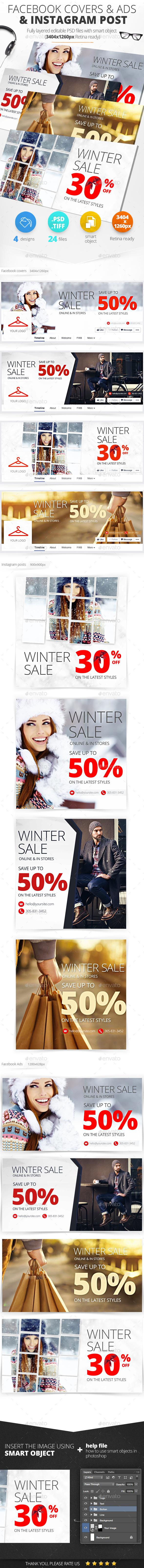 Facebook Covers & Ads & Instagram Post Sale Pack - Social Media Web Elements