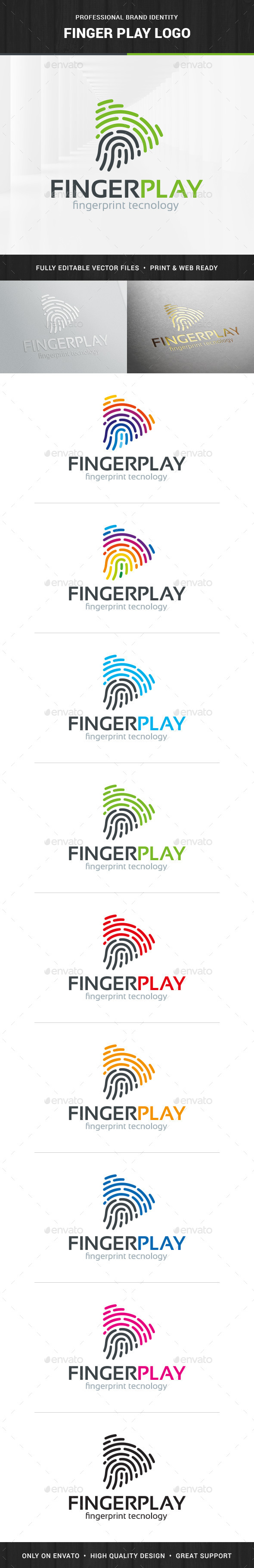 Fingerprint Play Logo Template - Abstract Logo Templates