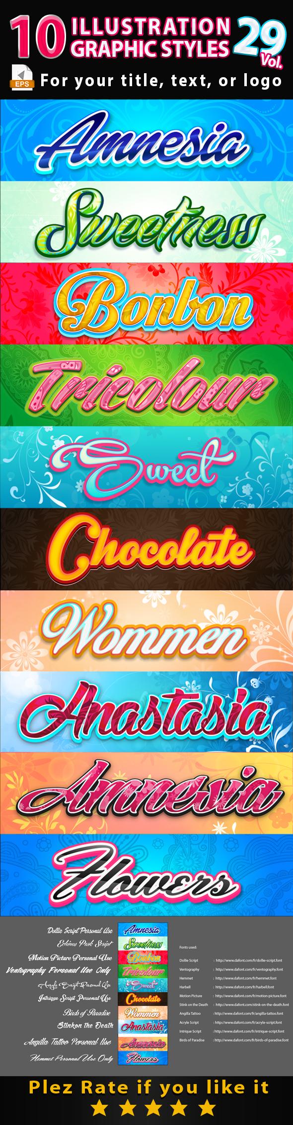 10 Illustrator Graphic Styles Vol.29 - Styles Illustrator