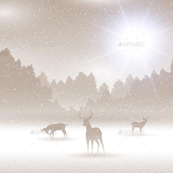 Christmas Winter Landscape Background - Christmas Seasons/Holidays