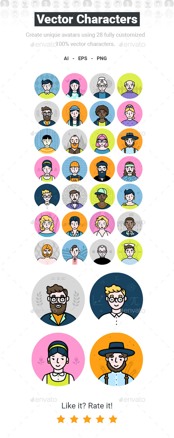 Vector Characters - Avatar Pack - People Characters