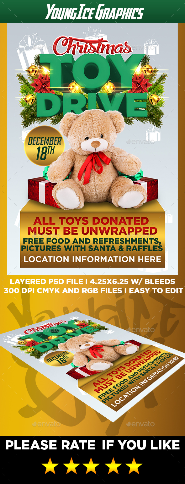 Christmas Toy Drive Flyer Template V2 - Events Flyers