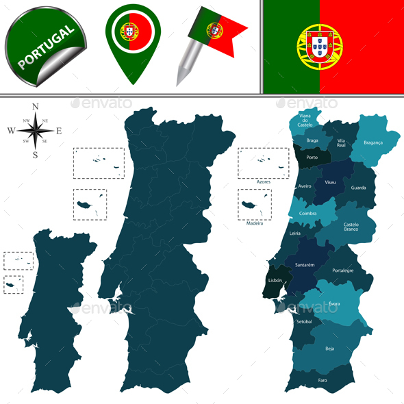 Map of Portugal - Travel Conceptual