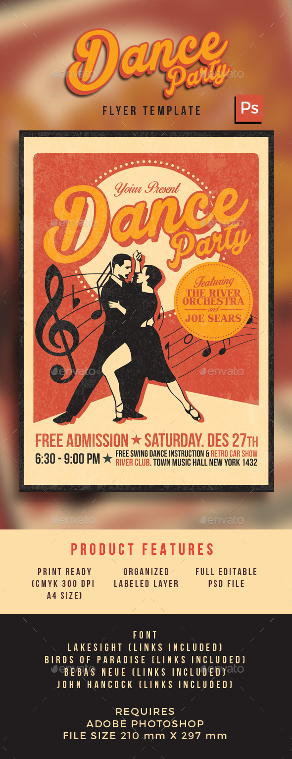 Retro Dance Party - Events Flyers