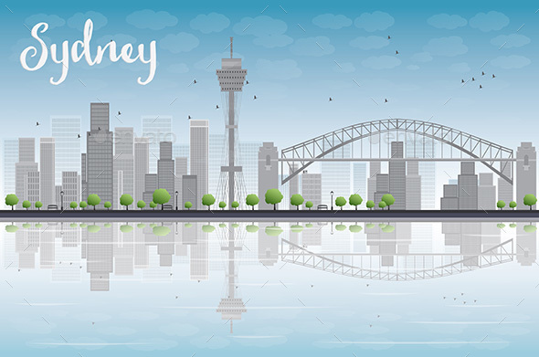 Sydney City Skyline with Blue Sky  - Buildings Objects