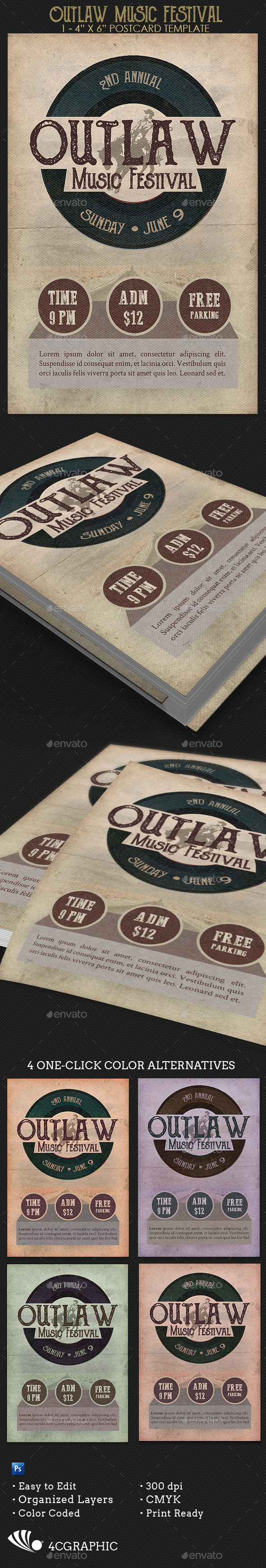 Outlaw Music Festival Flyer Template - Concerts Events