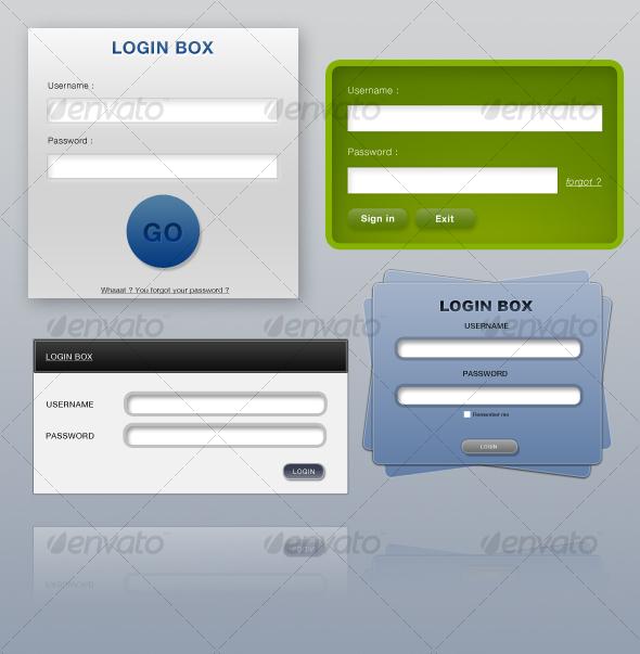 Various Login Boxes - Miscellaneous Web Elements