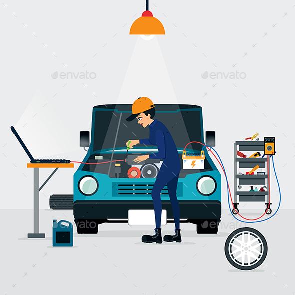 Car Repair - People Characters