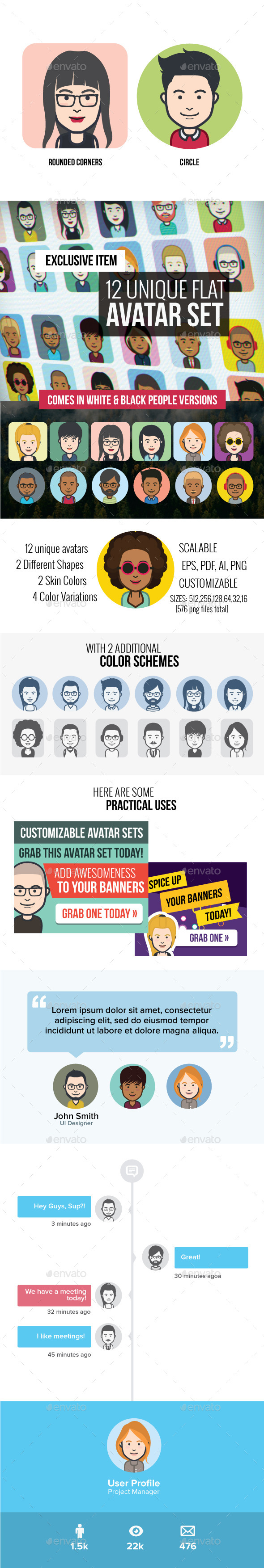 12 Vector Avatars - People Characters