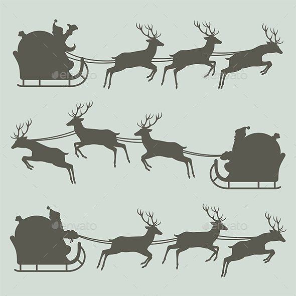 Silhouettes of Santa Claus on his Sleigh - Christmas Seasons/Holidays