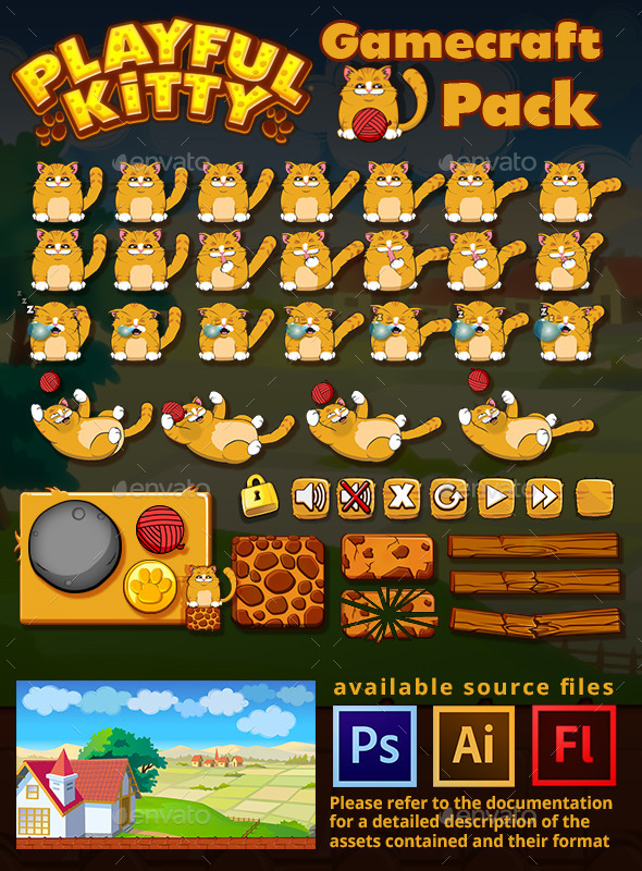 Playful Kitty Game Assets - Game Kits Game Assets