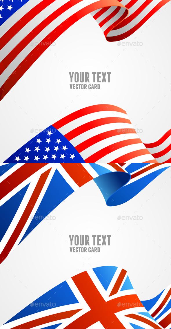 American and U.K. Flag Border Card. Vector - Conceptual Vectors