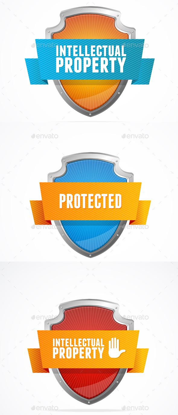 Intellectual Property Protect Shield Set. Vector - Web Technology