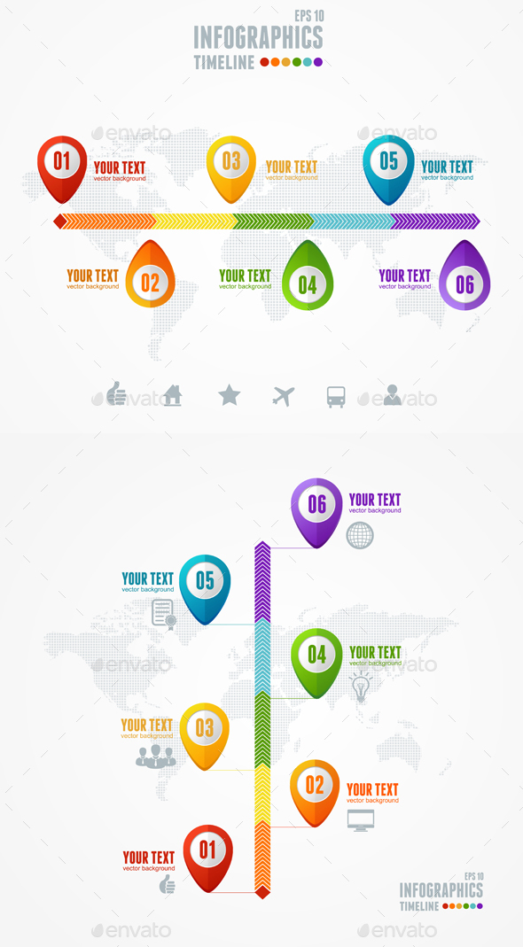 Timeline Infographic. Map and Pin. Vector - Communications Technology
