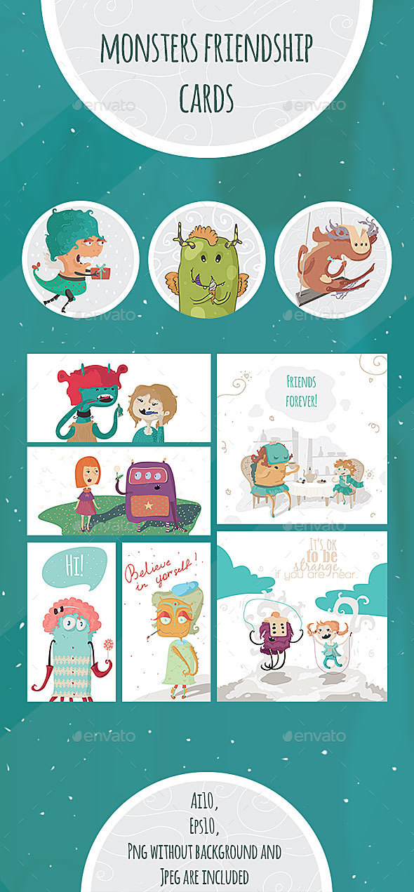 Monsters And Kids Friendship Cards - Monsters Characters