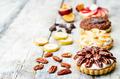 banana salted caramel chocolate plum honey pecan tartlets