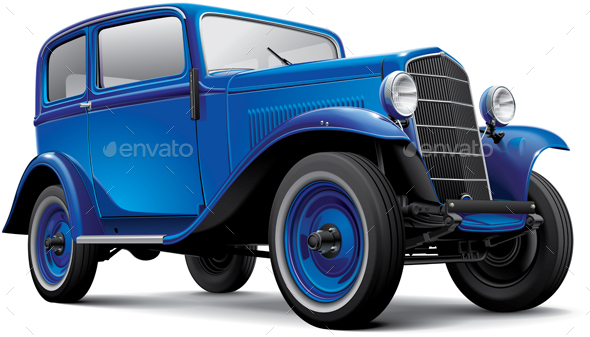 European Prewar Compact Automobile - Objects Vectors