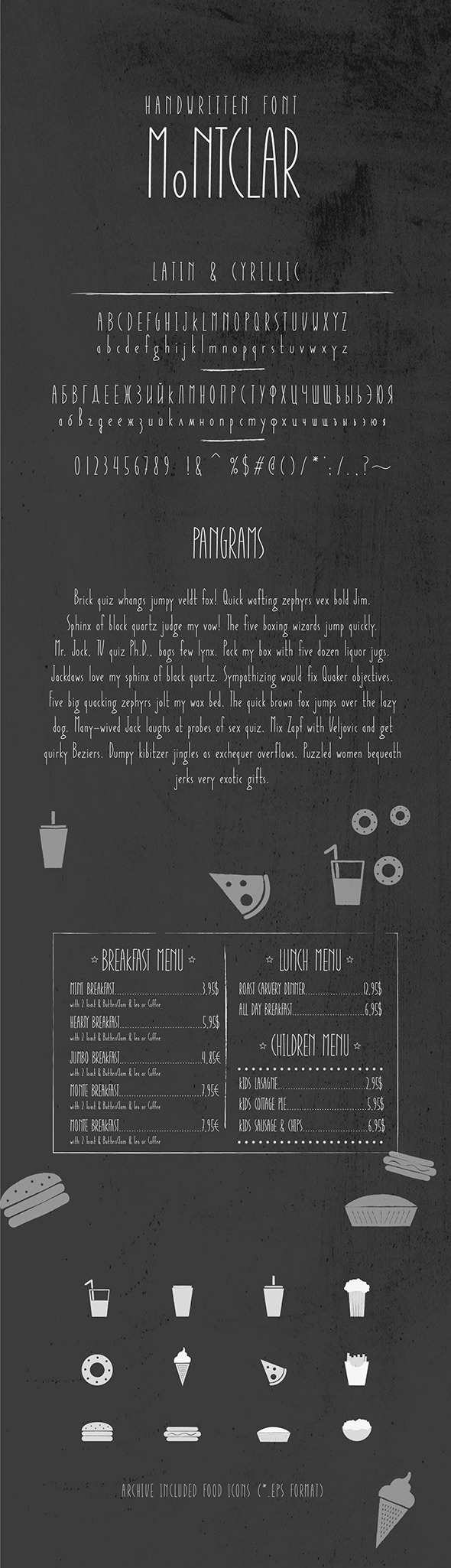 Montclar Font & Food Icons - Handwriting Fonts