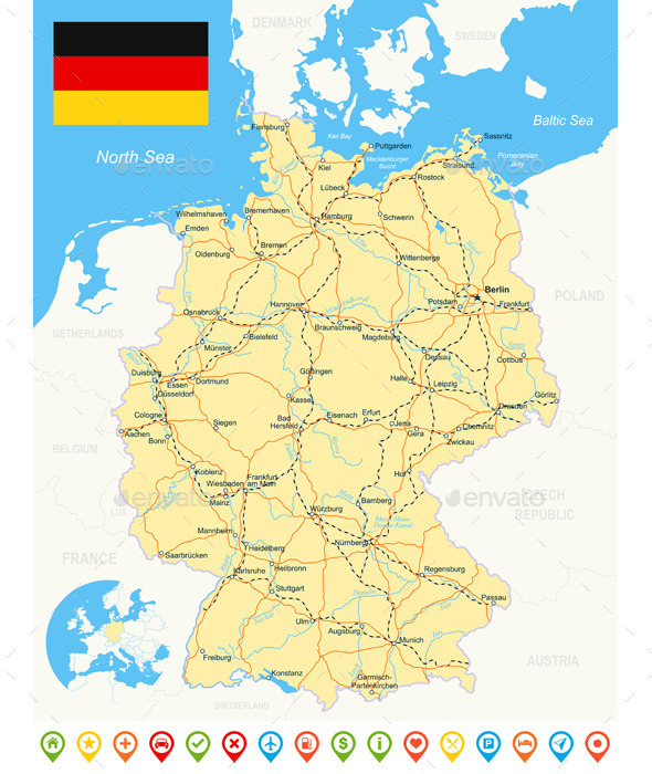 Germany Map, Flag, Navigation Icons, Roads, Rivers. - Travel Conceptual