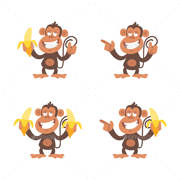 Monkey and Bananas - Animals Characters