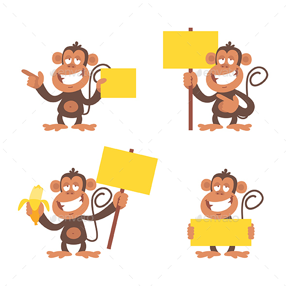 Monkey and Blank Placard - Animals Characters