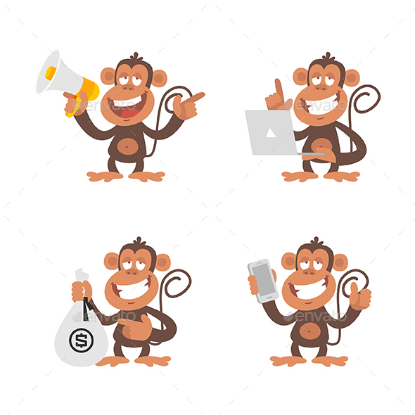Monkey and Technology - Animals Characters