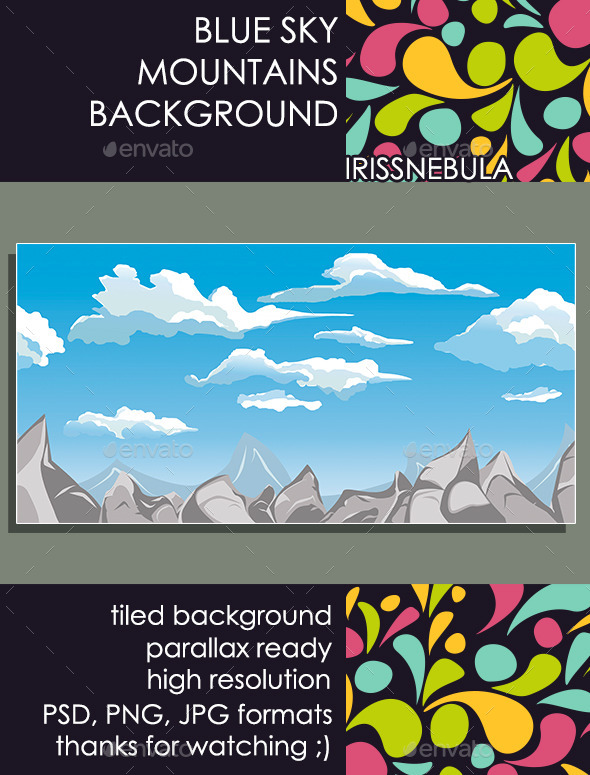 Blue Sky Mountains Background - Backgrounds Game Assets