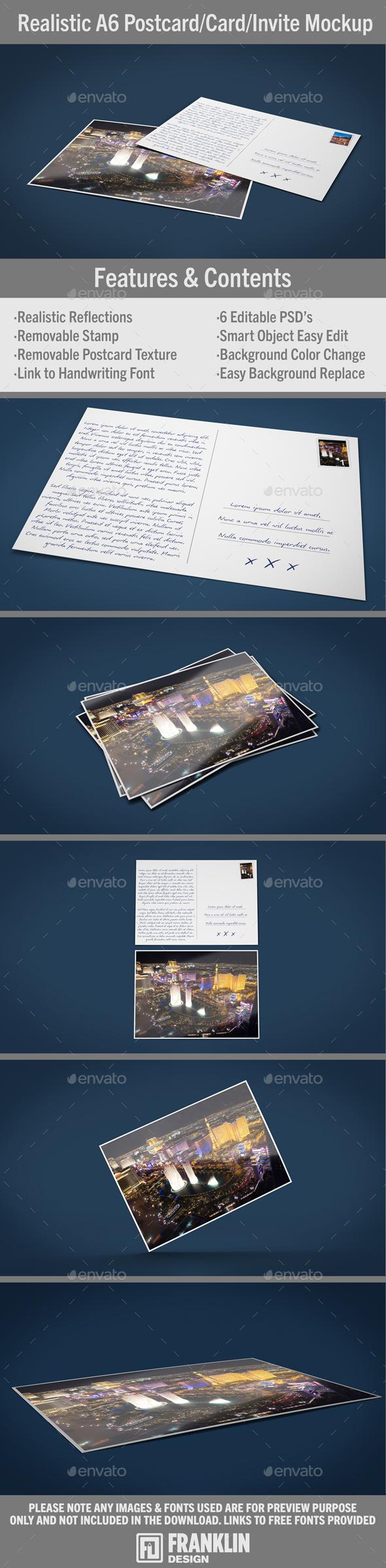 Realistic A6 Postcard/Card Mockup - Flyers Print
